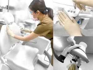 美里歯科施設のアルコール消毒の様子